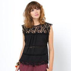Blusa cuadrada 100% algodón con calado LES PETITS PRIX - Camisas, Blusas y Túnicas