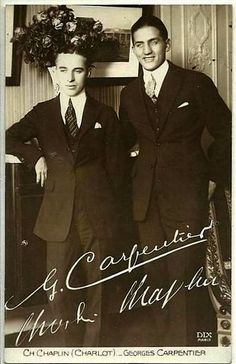 """Charlie Chaplin & French boxer Georges Carpentier - London 1921. 10 years later, Carpentier and Lita Grey were in a relationship, In January 1931, NYC, they were held up in a robbery. According to the Montreal Gazette January 8th 1931: """"""""Ex-Charlie..."""