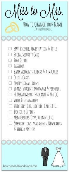 The perfect checklist for the newly married bride!!