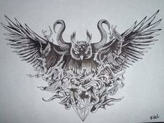bit dark, but very cool design.  Owl Black and White by ~suicidenote666 on deviantART