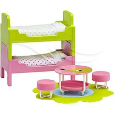 Lundby Smaland Dollhouse Accessories Children's Bedroom Furniture for sale online Childrens Bedroom Furniture, Doll Furniture, Dollhouse Furniture, House Bunk Bed, Bunk Beds, Twin Beds, Ikea, Pink Table, Dollhouse Accessories