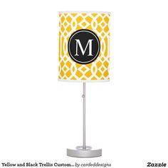 Yellow and Black Trellis Custom Monogram Desk Lamp