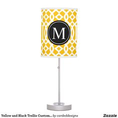 Yellow and Black Trellis Custom Monogram Desk Lamp