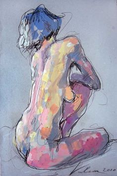 French artist Raluca Vulcan, seated nude female back mixed-media drawing, 2010.