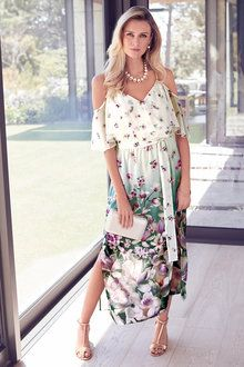 Floral Chiffon Maxi Dress by Kaleidoscope Floral Chiffon Maxi Dress, Boho Midi Dress, Maxi Wrap Dress, Hobbs Dresses, Evening Dresses Uk, Viscose Dress, Applique Dress, European Clothing, European Fashion