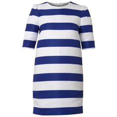 CAMILLA AND MARC Picadilly Lane striped shift dress (6 400 UAH) ❤ liked on Polyvore featuring dresses, blue white, mini cocktail dress, evening dresses, shift dresses, sleeve cocktail dress and striped mini dress