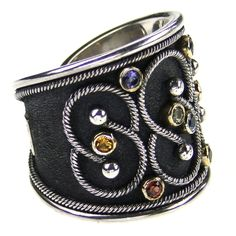 Damaskos Black Silver Mixed Sapphire Ring. 18k Gold, Sterling Silver and mixed Sapphires. Greek jewelry at www.athenas-treasures.com