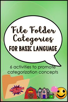 6 file folder activities for independent or groups! Make it once and re-use forever! Autism Activities, Work Activities, Speech Therapy Activities, Speech Language Pathology, Language Activities, Speech And Language, Sorting Activities, Second Language, File Folder Activities