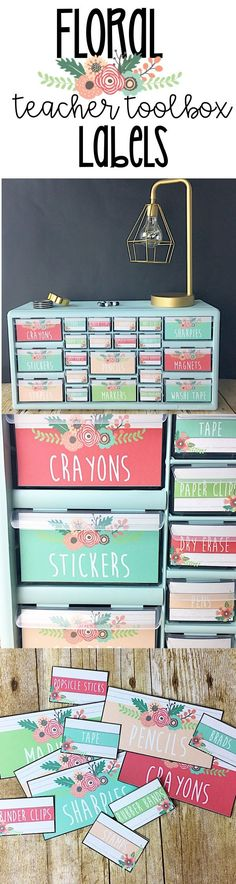 Floral themed teacher toolbox labels. A beautiful way to stay organized in the classroom!