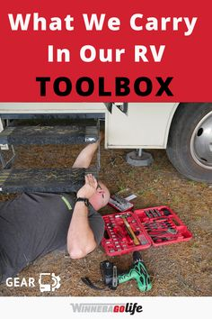 If you are looking for ideas on what to carry in your rv toolbox then look no further. Here are our tips on what you will want to carry with you on your next RV trip to make simple repairs as needed. These products are must-have items to help you maintain your rv whether you are living the rv lifestyle full-time or take an occasional road trip. If you have the best gear with you won't spend your next camping trip in the repair shop. #WinnebagoLife #RVLife #RVTools #RVGear Travel Trailer Accessories, Rv Accessories, Camping Hacks, Rv Hacks, Diy Rv, Road Trip Adventure, Repair Shop, Rv Travel, Rv Life