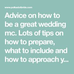 Advice on how to be a great wedding mc. Lots of tips on how to prepare, what to include and how to approach your duties in a fun and professional way. Mc Wedding Script, Wedding Mc, Wedding Tips, Wedding Reception, Wedding Bells, Wedding Stuff, Wedding Photos, Dream Wedding, Wedding Jokes