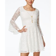 Bcx Juniors' Lace Bell-Sleeve A-Line Necklace Dress featuring polyvore, women's fashion, clothing, dresses, ivory, boho lace dress, white dress, winter white dress, bohemian dress and a line dress