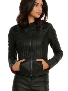 "<p>Come to the dark side. Transform into a Sith Lord with this black faux leather jacket with an embroidered Imperial logo on the back. Red lining with ""You underestimate the power of the dark side"" design.  Two pockets and zipper closure.</p>  <ul> 	<li>Face: 100% PU</li> 	<li>Back: 100% rayon</li> 	<li>Contrast: 95% polyester; 5% spandex</li> 	<li>Filling & lining: 100% polyester</li> 	<li>Wash cold; line dry</li> 	<li>Imported</li> 	<li>Listed in junior s..."
