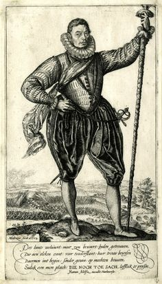 Portrait of a captain but Goltzius, dated 1583. Note how the Venetians are suspended from the doublet and the garment is worn as a unit.