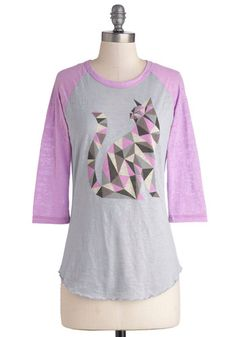 Cat-ch of the Day Top - Jersey, Sheer, Knit, Mid-length, Grey, Purple, Print with Animals, Casual, Cats, 3/4 Sleeve, Better, Scoop, 90s