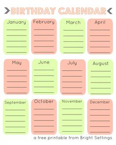 Free Printable Birthday Calendar -- a perpetual calendar to help you remember all of those birthdays!