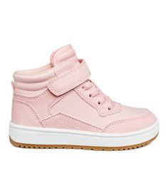 d686ed38a9df7 Light pink. High tops in faux leather with elasticized lacing at front and  hook-