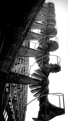 Marcel Breuer - East fire stair at the UNESCO Secretariat, Paris 1953.