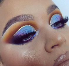 I think I need to start using pastels more often 💁.Metallic blurple on my lower lashline is BH Cosmetics 'Psych' metallic cream eyeshadow + Inglot 113 pigment. Lashes are House of Lashes Makeup Eye Looks, Beautiful Eye Makeup, Cute Makeup, Glam Makeup, Makeup Inspo, Eyeshadow Makeup, Cream Eyeshadow, Heavy Makeup, Makeup Brush