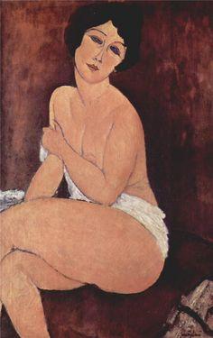 Nude seating on a sofa, 1917 Amedeo Modigliani