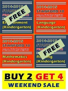 BIG SALE! Buy any 2 and get all 4 of these Stanford 10 practice tests for kindergarten. When you checkout two practice tests, you will receive all of them in a bundle. Hurry! This weekend only. http://sirarthurdeesonlineteachingresources.com/