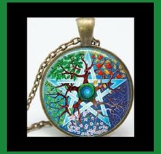 NEW - ANTIQUE BRONZE PENTACLE TREE WICCAN PAGAN SEASONS GLASS PENDANT NECKLACE #Handmade #Pendant