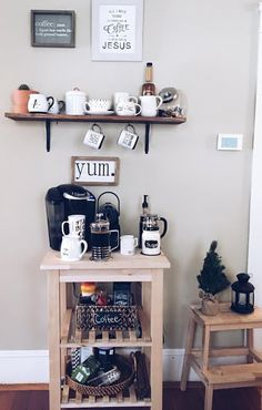 Tips on How to create a at Home Coffee Station - Krisse Coffie - Tips on How to create a at Home Coffee Station Tips on How to create a at Home Coffee Station - coffee station Coffee Station Kitchen, Coffee Bar Home, Home Coffee Stations, Coffee Corner Kitchen, Coffee Coffee, Ikea Kitchen Cart, Ikea Cart, Home Decor Kitchen, Keurig Station