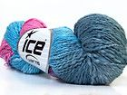 Lot of 3 x 100gr Skeins ICE HAND-DYED COTTON FLAMME (100% Cotton) Wool Blue Grey