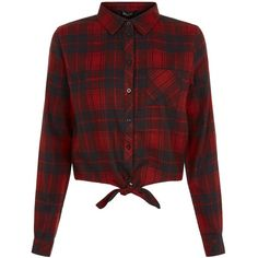 New Look Teens Red Check Tie Front Shirt ($20) ❤ liked on Polyvore featuring tops, red pattern, print shirts, check pattern shirt, patterned tops, print top and red shirt