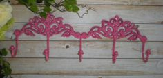 BERRY PINK / Wall Metal Hook / Shabby Chic / Coat by FromShab2Chic, $21.99