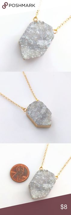 "Gold-plated genuine agate druzy necklace CLOSET CLOSING CLEARANCE!  All prices are firm; no additional offers accepted.  I'm earning no profits, just liquidating everything before moving abroad.  I'm listing as many items as I can as quickly as I'm able, but things are selling fast, so grab your faves while you can!    Nickel and lead free.  About 20"" long. Jewelry Necklaces"