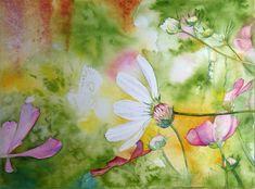 Unsere Aquarelle als Kunstkarten im Angebot des Präsenz Verlages   Farbspiele im Frühling (a) Aquarell von Frank koebsch