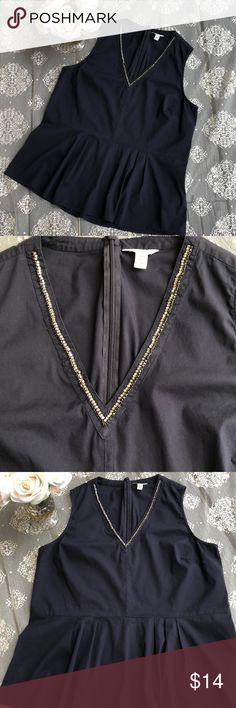 Calvin Klein sleeveless top excellent condition, size large 76% cotton, 21% nylon, 3% elastane, Navy blue color Calvin Klein Tops Blouses