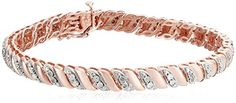 18k Rose Gold Over Sterling Silver Diamond Miracle Plate San Marco Bracelet. Buy now and SAVE 50%