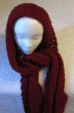 Crochet Hooded Scarf/Burgundy/Hoodie by Kitkateden on Etsy, $22.00