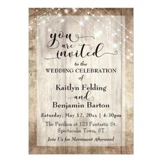 Rustic Light Brown Wood w/ Light Strings Wedding Card - fancy gifts cool gift ideas unique special diy customize