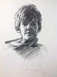 "His work interests me not just in technique but also in content. Pieces such as 'James' charcoal on paper 26x19"" intrigue me with the use of the hooded sweatshirt. In this piece the subject is a child, possibly the artist, with his hood down rather than over his head like his adult counterparts."