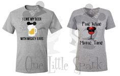 A personal favorite from my Etsy shop https://www.etsy.com/listing/475335915/mickey-ears-and-beer-minnie-wine-wine