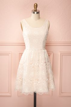Candice - Blush dress topped with white floral dress