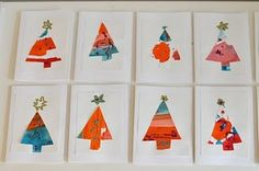 Kid's Christmas Card Idea: Trees cut out from painted paper.  Glitter glue and gold marker decorations.