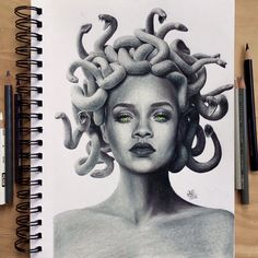 Drawing of Rihanna as Medusa. Made with Prismacolor premier colored pencils and a Canson Mix Media sketchbook. Medusa Painting, Medusa Drawing, Medusa Art, Realistic Drawings, Colorful Drawings, Illustration Sketches, Drawing Sketches, Medusa Pictures, Tatouage Main Hamsa