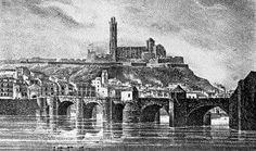 1839. Gravat de la ciutat de Lleida on es veu el pont romà