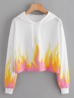SheIn offers Flame Pattern Drop Shoulder Crop Hoodie & more to fit your fashionable needs. Girls Fashion Clothes, Teen Fashion Outfits, Swag Outfits, Cute Fashion, Outfits For Teens, Cute Lazy Outfits, Crop Top Outfits, Stylish Outfits, Cool Outfits