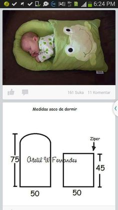 Saco de bebê com molde