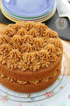 COFFEE CAKE - A delicious and moist two-layer Coffee Layer cake with a light & fluffy Coffee Buttercream Frosting!