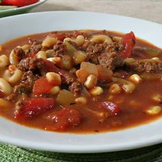 Hamburger Soup ~ minus the CORN and this would be the recipe I ate growing up in my home town restaurant!