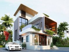 See Complete Architectural Visualization, Rendering, Interior Exterior Designs gallery at one place. Bungalow House Design, House Front Design, Modern House Design, Modern Bungalow House, Modern Mansion, Front Elevation Designs, House Elevation, 3d Architectural Visualization, Bedroom House Plans