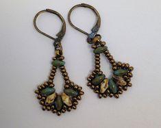 Superduo bead fan earrings