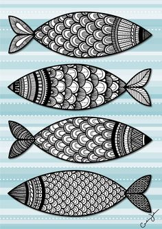 Something Fishy Going On from Craoline Johansson, Zentangle Tangle Doodle, Tangle Art, Zen Doodle, Doodle Art, Zentangle Drawings, Doodles Zentangles, Doodle Drawings, Fish Zentangle, Fish Drawings