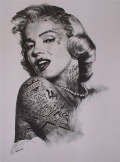 marilyn with kat von d's tattoos <3